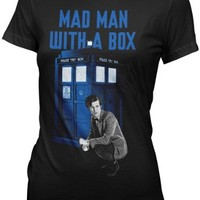 Doctor Who Mad Man With a Box Womens Juniors T-shirt