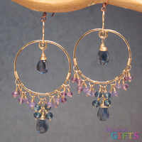 """Hammered hoops wrapped with turquoise, 1-3/4"""" Earring Gold Or Silver"""