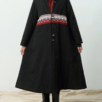 Vintage Women Patchwork Long Sleeve Thicken Long Coats