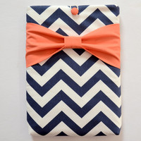"""Macbook Pro 13 Sleeve MAC Macbook 13"""" inch Laptop Computer Case Cover Navy & White Chevron with Coral Bow"""