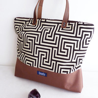 Large canvas tote bag shopping bag casual tote school bag brown greek labyrinth pattern book bag brown genuine leather strap for women