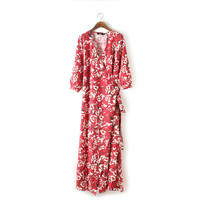 Summer V-neck Red Print Split One Piece Dress [5013139652]