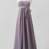 Real A-line Strapless Sleeveless Floor-length Chiffon Sash Grey Long Bridesmaid Dresses Prom Dresses Evening Dresses 2014 New Arrival