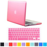 """HDE MacBook Pro 13"""" Non-Retina Case Hard Shell Cover Rubberized Soft-Touch Plastic + Keyboard Skin - Fits Model A1278 (Pink)"""