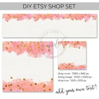 DIY Etsy Shop Set, Blank Etsy Shop Cover, Premade Etsy Banner, Add your own text, New etsy banner, Make up shop set, JPG Files