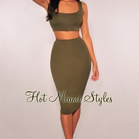 Olive Lace Up Back Skirt Two Piece Set