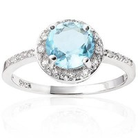 Sterling Silver Round Genuine Sky Blue Topaz & Cr. White Sapphire Halo Ring