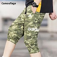 Adidas Summer Fashion New Letter Print Sports Leisure Solid Color Camouflage Shorts Men