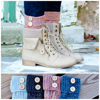 Color Wonder Button Cuff Socks