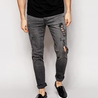 ASOS Skinny Jeans With Extreme Rips