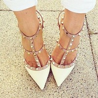 Valentino Fashionable Women White Pointed Rivet Sandals Shoes High Heels
