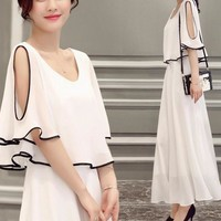 Womens Cold Shoulder Lace Dress Japanese/Korean Fashion Chiffon Dress E71