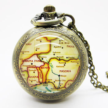Vintage Glass Pocket Watch Necklace / Map Pocket Watch Necklace  - Buy 3 Get 4th One Free PW111