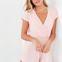 Ecote Ribbed Knit Surplice Romper | Urban Outfitters