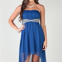 Strapless Dress with Chunky Stone Waist with High Low Skirt