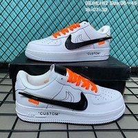 DCCK N139 Nike 2018 Air Force 1 Low Leather Custom Causal Skate Shoes White Black Orange