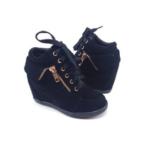 Black Suede Sneaker with Wedge for Girls