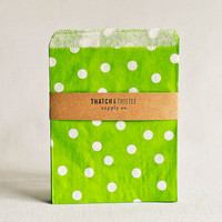 Paper Bags in Green Polka Dots - Set of 20 - 5x7 Party Favor Kraft Gift Wrapping Invitations Packaging Embellishment Sacks Merchandise
