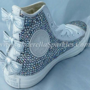 White Chuck Taylor High Top Crystal