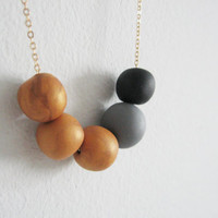 """Golden beads necklace - golden beads with black and gray- elegant necklace """" Round and round"""""""