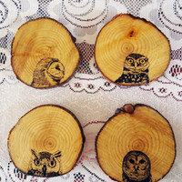 $15.00 Set of Four Wooden Owl Coasters by Nightowlhandmade on Etsy