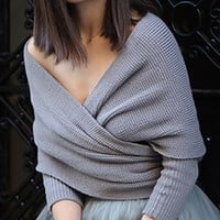 Grey 3/4 Sleeve Off The Shoulder Cross Wrap V Neck Crop Pullover Sweater