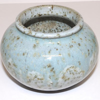 Vase or Planter, Pale Blue, Drip Glaze, Studio Pottery, Bulbous Body, Hand Crafted, Mid Century, 1950's