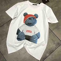 SUPREME & LV Joint Limited Edition Men and Women Fashion Bear Cub T-shirt F-AA-SYSY white