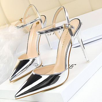 Simple thin heeled super high heel shallow mouth pointed patent leather metal feeling sexy nightclub was thin word sandals women's shoes silver