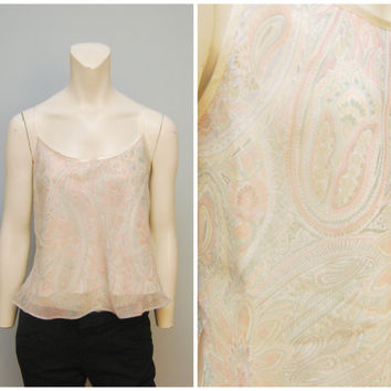 Vintage Spaghetti Strap Cropped Tank Top with Light Pastel Paisley Pattern by Lord & Taylor Size Large Bohemian Shirt Blouse Lingerie Style