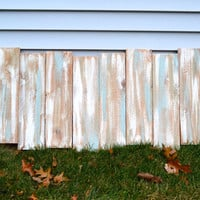 Staggered Reclaimed Wood Shabby Chic Headboard Wall Art - Gray / Blue / White - Gender Neutral
