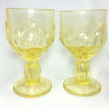 Vintage Viking Glass Lotus Leaf Pebble Leaves Wine Glasses/Yellow Goblets/Heavy Glass Compote/Pressed Glass (Set of 2)