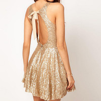 SEQUINED BACKLESS DRESS