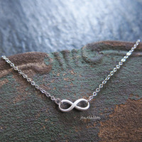 Silver Infinity Necklace Small Infinity Sign Pendant Charm Delicate Simple Everyday Casual Modern Jewelry Bridesmaids Friendship Gift C1