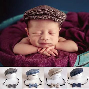 Cute Baby Boys Newborn Formal Peaked Cap Hat + Bow Tie Photo Photography Prop Outfit