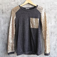 Final Sale - Gold Sequin Long Sleeve and Pocket Lightweight Sweatshirt