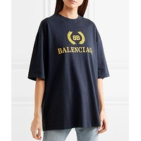 Balenciaga Popular Women Casual Letter Print Short Sleeve Pure Cotton T-Shirt Top Blouse I13617-1