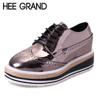 HEE GRAND Patent Leather Oxfords 2017 Platform Shoes Woman Creepers Autumn Flats Casual Lace-Up Women Brogue Shoes XWD3118