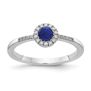 14k White Gold Real Diamond and Cabochon Sapphire Ring