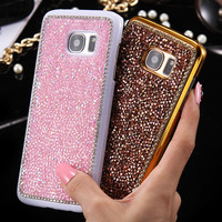 Elegant Hard Coque For Samsung GalaxyS7 Edge G9350 PC + Shiny Diamond Rhinestone Slim Armor For Samsung S7 Edge Case Phone Cover