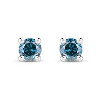 Ethically Mined Natural Blue Diamond Solitaire Stud Earrings