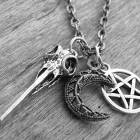 Bird Skull Necklace Pentagram Necklace Bird Skull Jewelry Pentacle Crescent Moon Gothic Charm Necklace Goth Occult Witch Craft Witchcraft