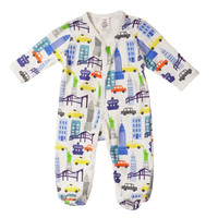NYC blue multi fleece footed coverall