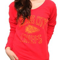 NFL Kansas City Chiefs Vintage Off the Shoulder Fleece - Women's Collections - NFL - Kansas City Chiefs - Junk Food Clothing