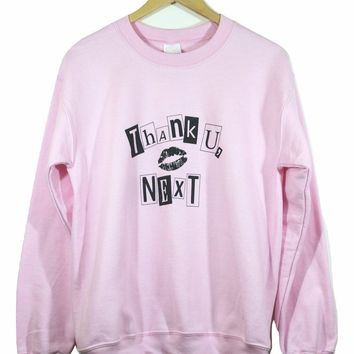 Thank U, Next Light Pink Graphic Crewneck Sweatshirt