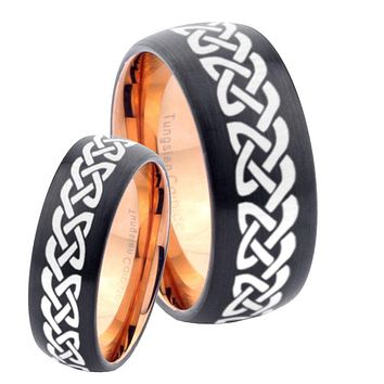 His Hers Celtic Knot Loves Dome Tungsten Rose Gold Mens Wedding Band Set