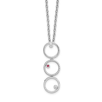 Sterling Silver White Ice .025ct Diamond And Ruby Necklace