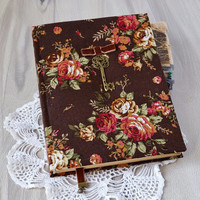A5 floral handmade notebook Fabric covered journal Vintage style notebook Women notebook Personal diary Girls diary Notebook fabric