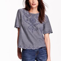 Women's Embroidered Chambray Tops