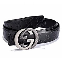 G GUCCI Fashion New GG Letter Buckle More Letter Leather Women Men Leisure Belt Black